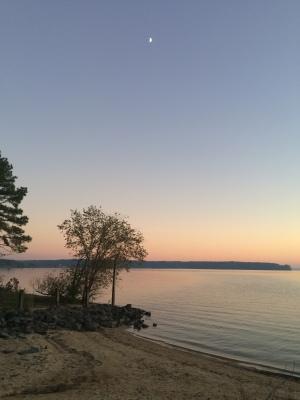Fall moon rise on Jordan Lake